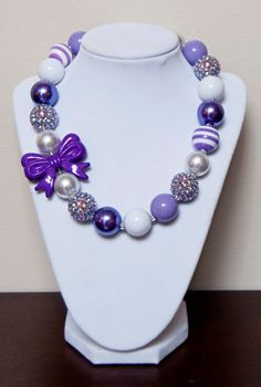 Purple and White Chunky Bubblegum Necklace by PinkLiliesBoutique
