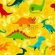 Cartoon dinosaur seamless pattern.