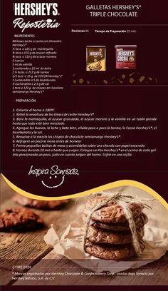 Galletas de triple chocolate Chocolate Chip Cookies, Hershey Chocolate Cakes, Brownie Cookies, Chocolate Brownies, Yummy Cookies, Chocolate Desserts, Köstliche Desserts, Delicious Desserts, Dessert Recipes