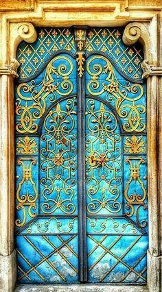Golden Doorway Beautiful Old Doors Doors Unique Doors Cool Doors, Unique Doors, Entrance Doors, Doorway, House Entrance, Porte Cochere, When One Door Closes, Door Gate, Door Knockers