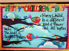 Art ,Craft ideas and bulletin boards for elementary schools: Children& day Bulletin board , Happy Children& Day - - Soft Board Decoration, School Board Decoration, School Decorations, School Themes, Display Boards For School, School Bulletin Boards, Happy Children's Day, Happy Kids, Fun Activities For Toddlers