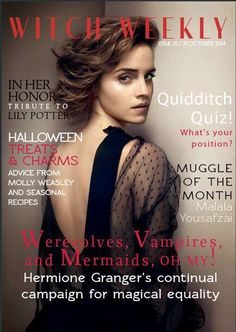 An actual Witch Weekly Magazine! Harry Potter fans everywhere need to see this!--->Muggle of the month Malala Yousafzai Lily Potter, Harry Potter Fan Art, Harry Potter Universal, Harry Potter Fandom, Harry Potter World, Harry Potter Memes, Dramione, Draco, Yer A Wizard Harry