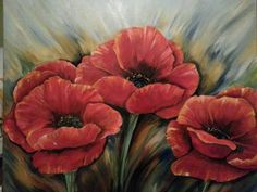 Beautiful oil painting of Poppies. Painted by Holly Foister. Like (on facebook) Paintings by Holly Foister 2105