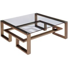 Villiers Brooklyn Coffee Table - Old Penny Bronze ($7,807) ❤ liked on Polyvore featuring home, furniture, tables, accent tables, coffee tables, metallic, mirror accent table, mirrored table, mirrored furniture and eglomise furniture