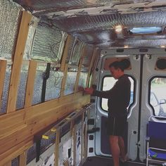 On to the finish work on the Sprinter Van conversion! Cedar panels.