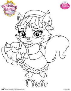 free coloring page featuring tillie from disneys whisker haven palace pets