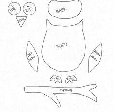 Eule Bastelvorlage - Körperteile ausdrucken und als Schablone verwenden Mehr