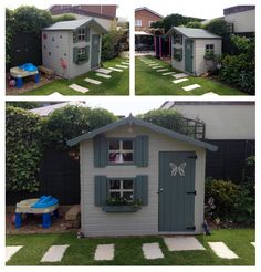 10 awesome playhouses that you have to see | Two storey painted #woodenplayhouse