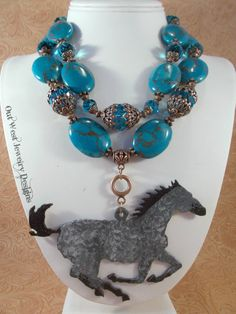 Western Cowgirl Statement Necklace Set  Chunky Dark Turquoise Howlite - Hand Painted Grey Horse by Outwestjewelry