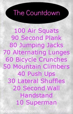 A full body workout that doesn't require any equipment and can be done anywhere. Get ready for The Countdown Workout. Fitness Tips, Fitness Motivation, Health Fitness, Fitness Quotes, Countdown Workout, High Intensity Interval Training, Stay In Shape, I Work Out, At Home Workouts
