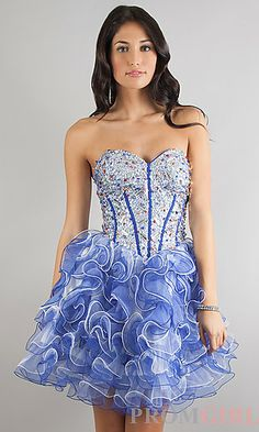 Dang!!! How Gorgeous!! Short Strapless Sweetheart Dress at PromGirl.com