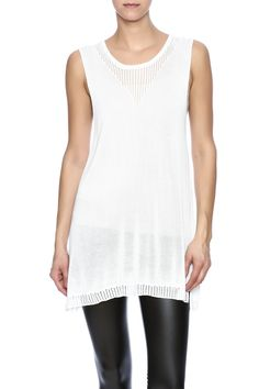 Long ivory sleeveless knit top with a round neckline.  Tasha Sweater Tank by Bobeau. Clothing - Tops - Sleeveless Florida