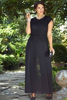 Jumpsuits/Rompers Jewel Ankle-length Chiffon Lace Mother of the Bride Dress