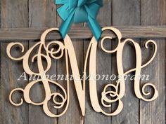 22 Wooden Monogram Unpainted Vine Script by MonogramCustomArt Wood Monogram, Monogram Initials, Decor Wedding, Wedding Decorations, Door Hangers, Pottery Barn, House Warming, Vines, Projects To Try