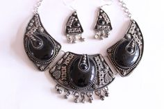 Black and Silver Tone Bollywood Inspired Statement Necklace and Earring Set, Black and Silver Necklace and Earrings, Art Deco Jewelry by TexasGalTreasures on Etsy https://www.etsy.com/listing/209758667/black-and-silver-tone-bollywood-inspired