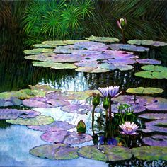 Expressions Of Love And Peace Painting by John Lautermilch - Expressions Of Love And Peace Fine Art Prints and Posters for Sale Water Lilies Painting, Pond Painting, Lily Painting, Lotus Kunst, Lotus Art, Art Floral, Watercolor Flowers, Watercolor Art, Peace Painting