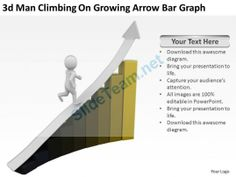 3D Man Climbing on Growing Arrow Bar Graph Ppt Graphics Icons #Powerpoint #Templates #Infographics