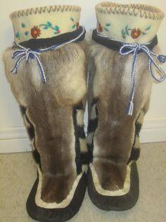 Inuit made women's caribou & sealskin kamiks by  Geela Sowduapik