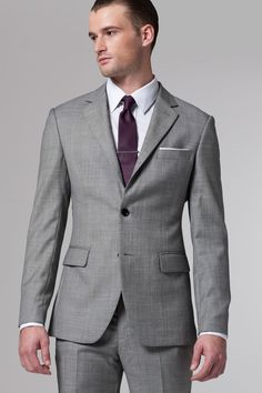 $1299 Men's 2 Button Super 140's Mantoni Gray Suit, Vented ...