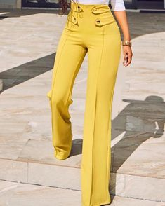 Shop Stylish Buttoned High Waist Wide Leg Pants – Discover sexy women fashion at Boutiquefeel Trend Fashion, Fashion Pants, Fashion Outfits, Womens Fashion, Cheap Fashion, Fashion Clothes, Latest Fashion, Girl Outfits, Pantalon Large