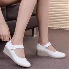 Genuine Leather skid work shoes Wedges shoes Breathable Female Shoe round toe soft bootom hook loop plus size white beige 33-41 #Affiliate