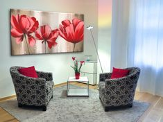 Cuadro de flores grandes rojas Canvas Painting Tutorials, Flower Painting Canvas, Home Wall Decor, Texture Painting, Acrylic Art, Shabby Chic Furniture, Beautiful Paintings, Decoration, Gallery Wall