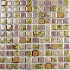 Collection: Porcelain Mosaic Tiles; Material: Porcelain; Shape: Square; Color: Pink; Size: 300 x 300 x 4 mm; Chip Size: 25 x 25 mmMosaic Tiles specializes in quality handcrafted porcelain mosaic tiles that add excitement to your pool, home, and outdoor area. They are composed of colored porcelain tiles of different shapes and sizes arranged to form lifelike images.Each sheet of the porcelain mosaic tile is approximately 1 sq ft per sheet and is mesh mounted for easy installation of your… Glass Tile Backsplash, Glass Mosaic Tiles, Stone Mosaic, Kitchen Backsplash, Kitchen Flooring, Tile Flooring, Mosaic Tile Designs, Tile Projects, Porcelain Tiles