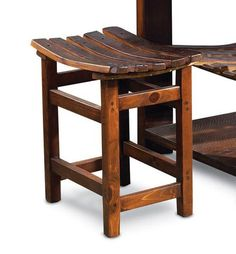 Wide stool with wine barrel stave seat-fits perfectly under ends of the WV105.