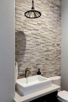 Attrative Rustic Bathroom Decoration With Wall Stone Ideas 11 3d Tiles Bathroom, Stone Bathroom, Bathroom Wall, Bathroom Ideas, Office Bathroom, Bathroom Images, Bathroom Designs, Bathroom Remodeling, Bathroom Organization