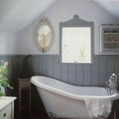grey wainscoting - The Vintage Modern Home ... someone wants this for the house and it's not me. Claw foot tub