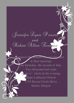 Affordable Rustic White Floral Purple Wedding Invitations