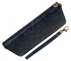 Snakeskin Clutch Wallet - Blue