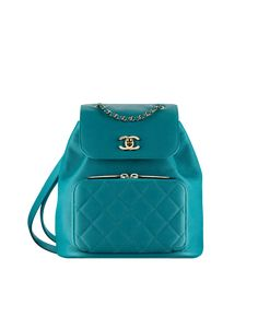 Backpack, grained calfskin & gold-tone metal-green - CHANEL