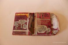 cartera con papel de comic