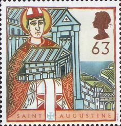 St Augustine and St Columba - Missions of Faith 63p Stamp (1997) St Augustine with Model of Cathedral