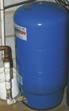 Rural-style water-pressure tanks can be installed on city water systems to add extra water for short duration high-demand periods. Well Water System, Water Well, Water Systems, Well Pressure Tank, Low Water Pressure, Well Pump Repair, Well Tank, Ram Pump, Water Generator