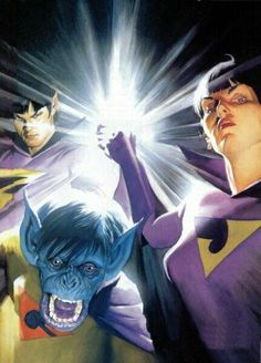Super Gêmeos e Gleek (Wonder Twins and Gleek) - Alex Ross Comic Book Artists, Comic Book Heroes, Comic Artist, Comic Books Art, Dc Heroes, Alex Ross, Justice League, Wonder Twins, Hq Dc