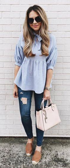 summer outfit top + bag + rips