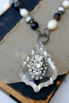 vintage chandelier crystal and rhinestone necklace, accented with baroque pearls and gemstones
