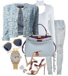 Feeling Blue Today DETAILS: Jacket/Jeans #Balmain Bodysuit #Dreamitwearit Bag /Frames #Fendi Shoes #Gucci #Styledbyfashionkill21