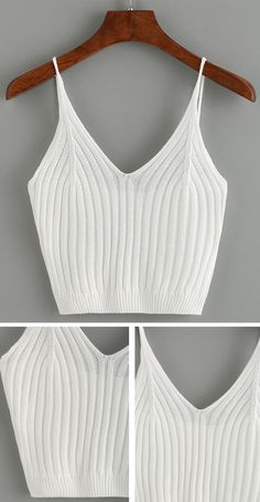 Ribbed Knit Crop Cami Top - White