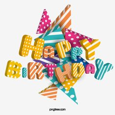 Stereo Geometric Happy Birthday Contrast Color Floating Font Vector and PNG Happy Birthday Font, Happy Birthday Balloon Banner, Happy Birthday Posters, Happy Birthday Cupcakes, Happy Birthday Celebration, Birthday Love, Happy Birthday Greetings, Birthday Typography, Happy New Year Vector