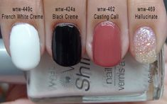 Wet n Wild Wild Shine Nail Lacquer Swatches: French White Creme, Black Creme, Casting Call, Hallucinate.