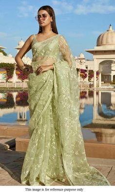 Buy Bollywood Sabyasachi Inspired Pista green net saree in UK, USA and Canada