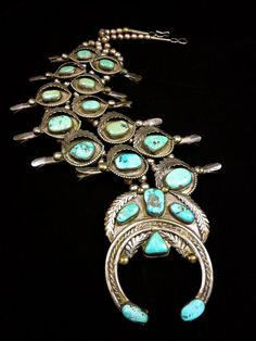 AMAZING 320g Vintage Old Pawn Navajo Sterling Silver Squash Blossom Necklace w Beautifully Aged Blue Gem Turquoise! Wonderful Silver Leaves!