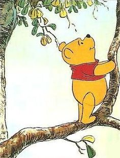 Winnie-the-Pooh followed the flying insect to the large oak-tree. There, near the top of the tree was a bee-hive full, full of honey! So he began to climb.