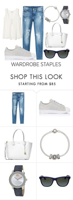 """basic"" by marina-marina-iv ❤ liked on Polyvore featuring 7 For All Mankind, adidas, Michael Kors, Pandora, Movado and Ray-Ban"