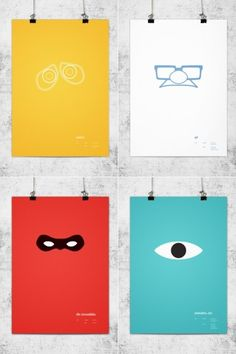 For his minimalist poster tribute to Pixar, communication designer Wonchan Lee stripped away all the excess, reducing each movie to a solitary, yet instantly recognizable vector graphic. Pixar Poster, Disney Movie Posters, Film Posters, Minimal Poster, Poster Series, Eye Art, Branding, Cool Art, Poster Prints