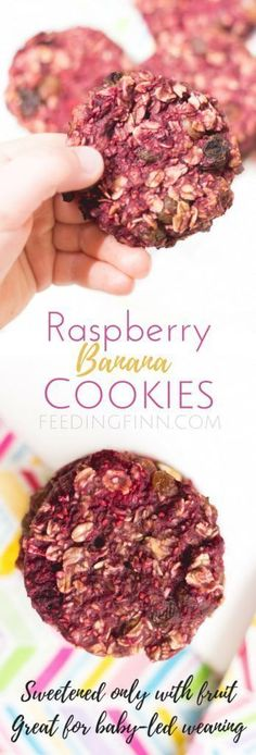 Raspberry banana cookies, made with 4 ingredients, are sweetened only with fruit. A perfect breakfast or snack for kids. Great for baby-led weaning (BLW) (fruit recipes for kids) Fruit Recipes For Kids, Healthy Snacks For Kids, Healthy Foods To Eat, Baby Food Recipes, Toddler Recipes, Healthy Salads, Healthy Desserts, Weaning Foods, Led Weaning