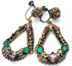 Art Deco Rhinestone Gilded Dangle Dangle Earrings Rose